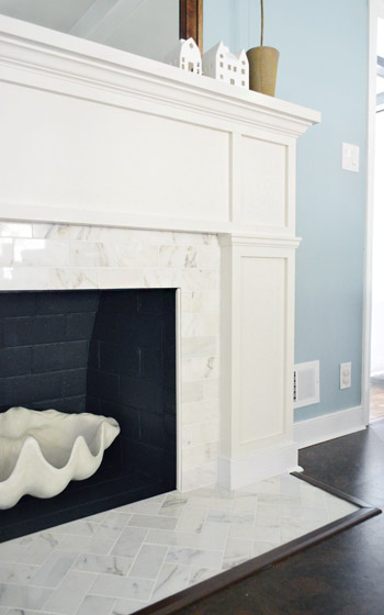 Young House Love Our 200 Fireplace Makeover Marble Tile A New Mantel