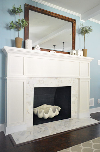 Our 200 Fireplace Makeover Marble Tile A New Mantel Young House Love