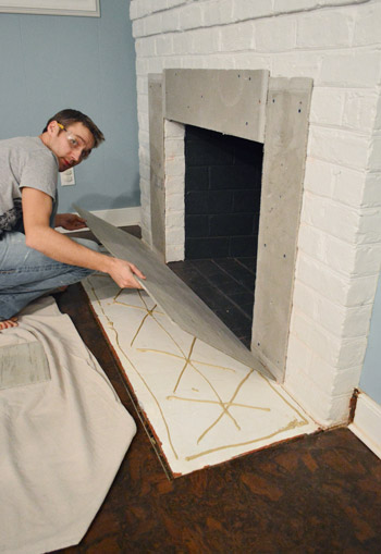 Cement Board Chimney : Fireplace makeover tiling the mantel with marble