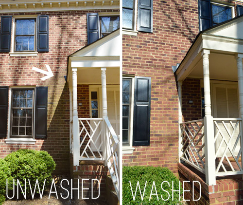 Using a power washer to clean wood brick and cement - How to clean brick house exterior ...