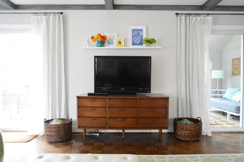 A Cheap Easy Shelf For That Blank Spot Over The Tv Young House Love