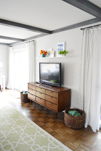 A Cheap & Easy Shelf For That Blank Spot Over The TV   Young House Love