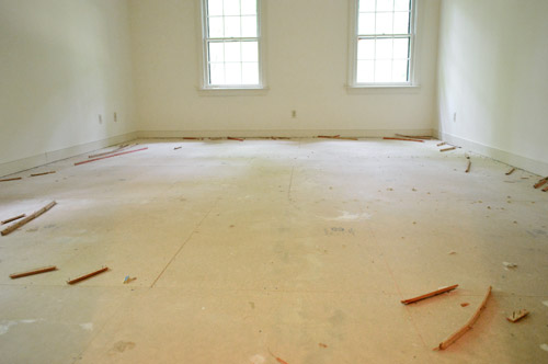 subfloor with carpet removed
