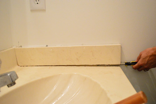 How To Remove A Dated Vanity Backsplash