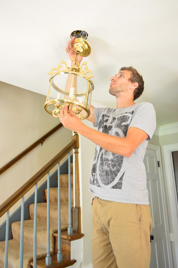 Foyer Chandelier Installation : Hanging a moravian star light in the foyer young house love