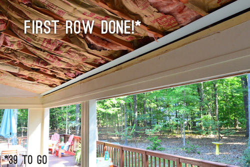 also borrowing from our hardwood flooring experience we wanted to stagger the breaks between boards from one row to the next this makes things more secure - Wood Under Porch Ceiling