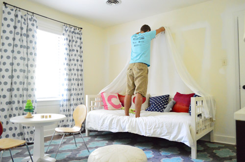We liked how the white sheers looked but they were a little bland without any trim (which further confirmed that we needed to grab something colorful and ... & Making A Sweet u0026 Simple Bed Canopy | Young House Love
