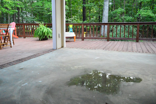 leveling and dry fitting tile in an outdoor area young house love