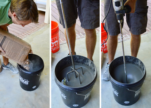 Drill Morter Mix : Leveling and dry fitting tile in an outdoor area young
