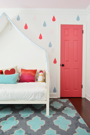 bright closet door some playful painted raindrops young house