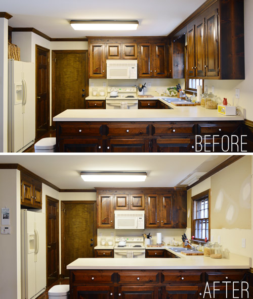 removing some kitchen cabinets & rehanging one | young house love