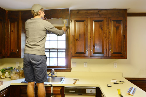 One Kitchen Cabinet removing some kitchen cabinets & rehanging one | young house love