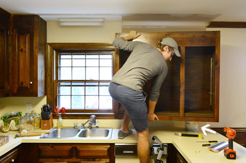 removing some kitchen cabinets rehanging one young house love - Upper Kitchen Cabinets