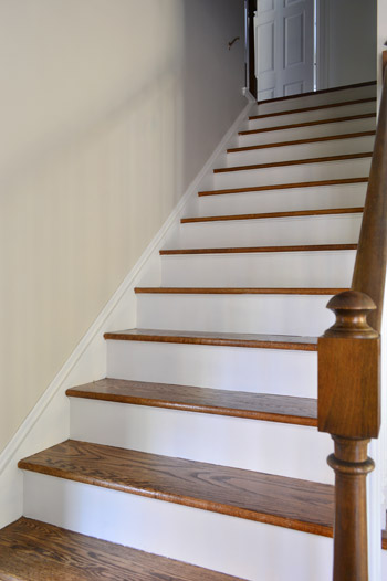 Hardwood floor steps with dark trim college confidential for Painted stair treads