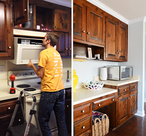 Replacing a hanging microwave with a range hood young - How to vent a microwave on an interior wall ...