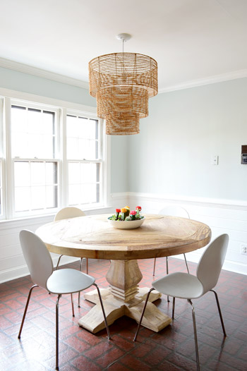 as for how we knew what height to hang it we just googled and read that around 30 32 is standard for a large pendant over a table so we went with 31 - 2 Pendant Lights Over Dining Table