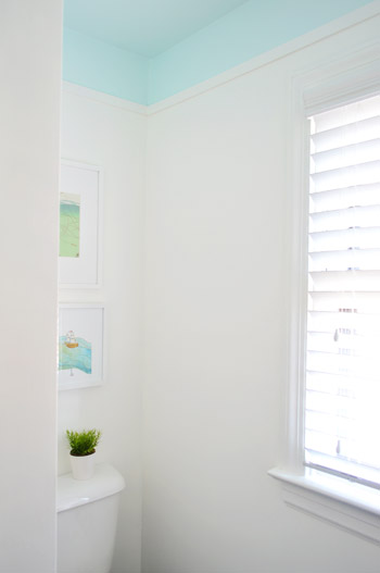 ceiling white paintAdding Color And Trim To A Bathroom Ceiling  Young House Love