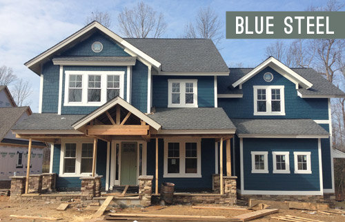 none of these are real colors from a paint deck we picked all of them in photoshop but wed choose a swatch that has the same undertones if we opted for - Exterior House Colors Blue