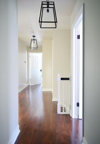 Young House Love Foyer Light : Three oversized lantern lights for the hallway young