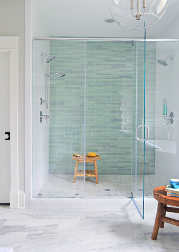 sea green glass tile white subway tile frameless shower door marble mosaic floor tile bathroom pinterest frameless shower