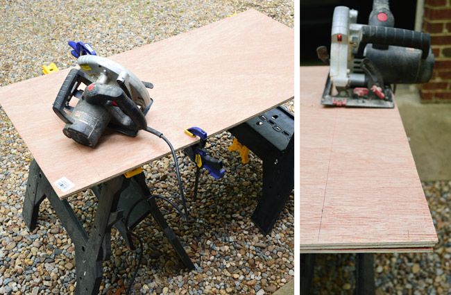 clamping together plywood pieces and using a circular saw to cut them all at once to ensure consistent size