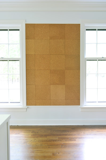 all cork tiles applied to giant cork board wall