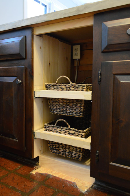 Adding DIYed Pull Out Basket Drawers In The Kitchen | Young House Love