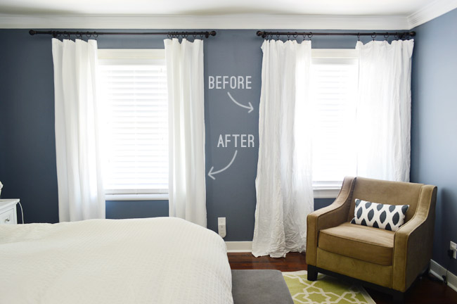 Adding (& Hemming!) Breezy Bedroom Curtains | Young House Love