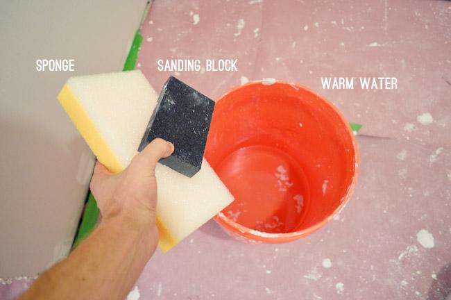 materials for wet sanding drywall sponge sanding block bucket of warm water