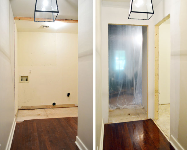 before and after side by side of old laundry room and new drywalled doorway