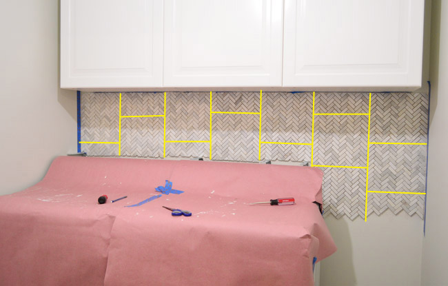 How To Install A Marble Herringbone Tile Backsplash In The Laundry