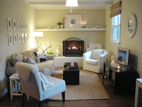painting a brick fireplace is an easy way to makeover your entire room here 39 s a fast tutorial. Black Bedroom Furniture Sets. Home Design Ideas