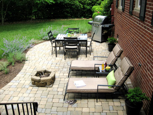 Our 319 patio makeover complete with loungers a fire for Cheap backyard makeover ideas