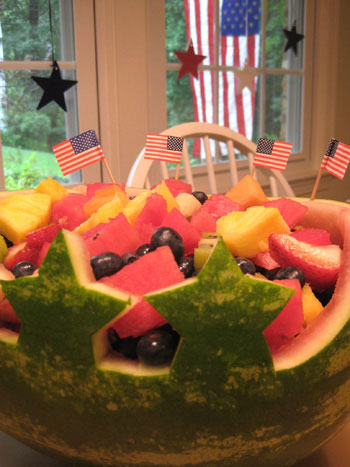 We made a fun little watermelon centerpiece for the th of july
