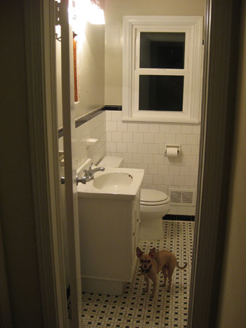 Then Sherry helped me remove all of the fixtures (toilet, vanity, faucets, shelves, shower curtain) and it was up to me to demo out the tiled portion of the ...