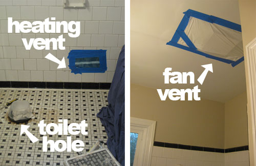 Demoing Tile, Mortar, & Metal Mesh In The Bathroom Walls | Young House Love