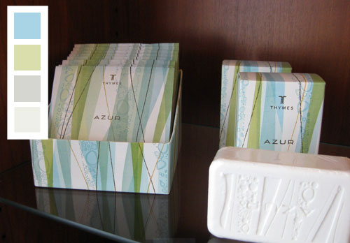 blue green gray and white decorating color scheme inspired by soap packaging