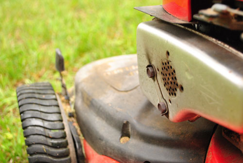 Lawn Mower Fix: Cleaning An Oil-Clogged Air Filter | Young House Love