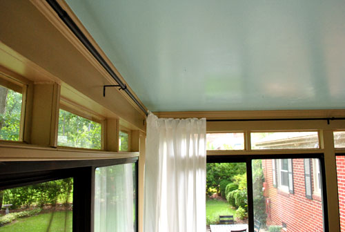 How To Hang Corner Curtain Rods Painting The Ceiling Blue