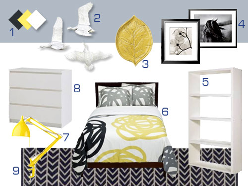 Mood Board Making: A Gray, White, And Yellow Bedroom | Young ...