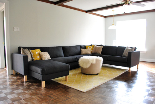 Ikea sectional sofa recently assembled in gray living room