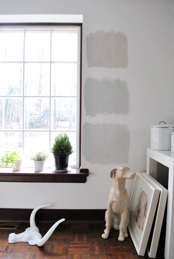 Three Benjamin Moore Gray Paint Options Painted As Test Squares On A White Wall With Wood