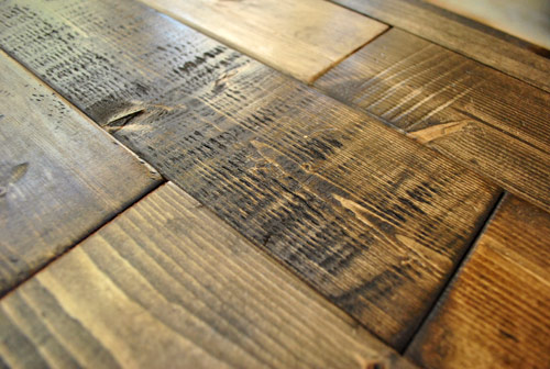 distressed effect on new wood boards to make them look old and reclaimed