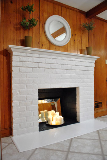 How to prep prime and paint a brick fireplace young - How to make a brick fireplace look modern ...