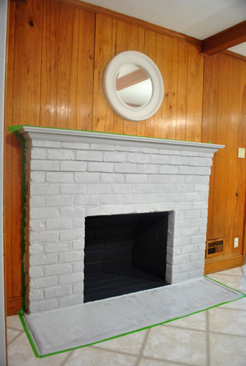 How to prep prime and paint a brick fireplace young house love - Tiling a brick fireplace ...