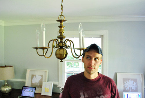 Upgrading An Old Chandelier With Paint A New Shade Alternate Punny Post Le The Updated Light Fixture