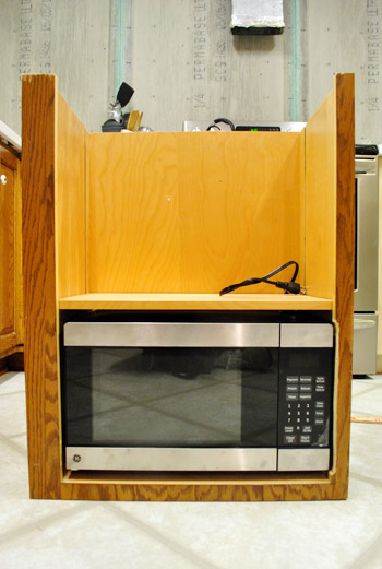 How To Hide A Microwave Building It Into A Vented Cabinet Young House Love