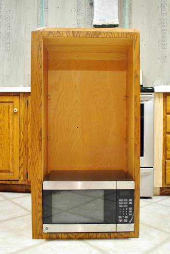 How To Hide A Microwave Building It Into Vented Cabinet Young House Love