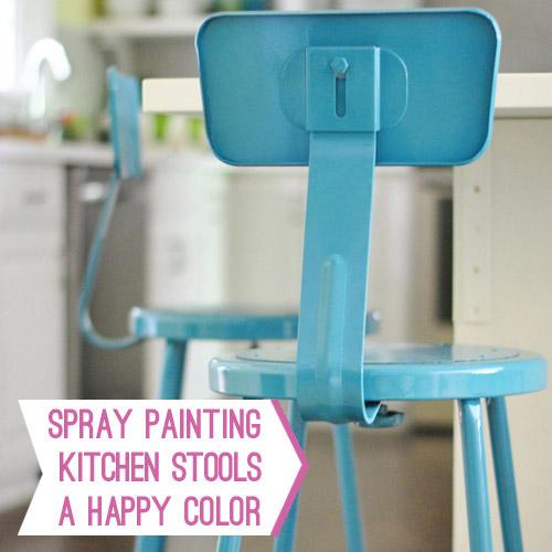 Fantastic Spray Painting Metal Kitchen Stools A Happy Turquoise Color Inzonedesignstudio Interior Chair Design Inzonedesignstudiocom