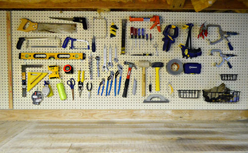 organizing tools with a pegboard nails with glass jars young house love. Black Bedroom Furniture Sets. Home Design Ideas